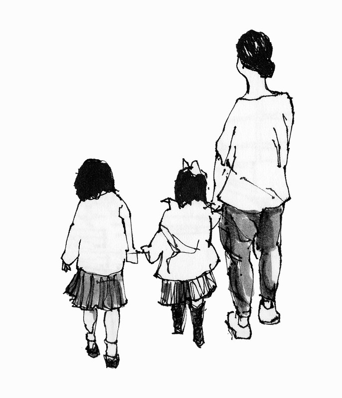 Mother and two children, Tokyo. Sketched on a business trip last year