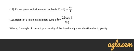 Important Notes of Physics for NEET, JEE: Mechanical Properties of Fluids