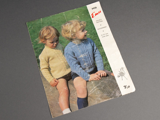 Emu 6436 Baby/Toddler Cabled Sweater 60s Vintage Knitting Pattern Leaflet