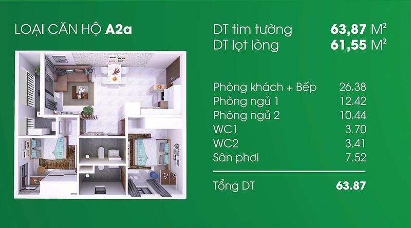 Căn hộ A2: 2 phòng ngủ, 2 WC, diện tích: 61,55 m2 Thủ Thêm Garden quận 9