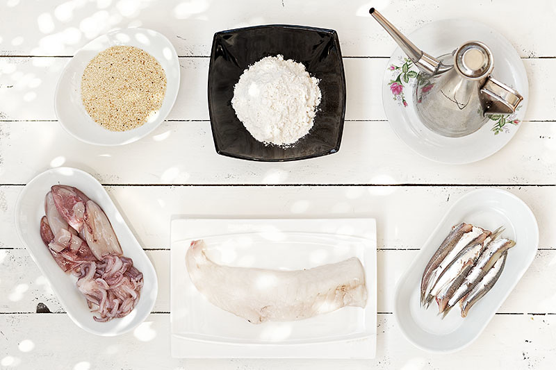 Ingredientes para el pescaíto frito