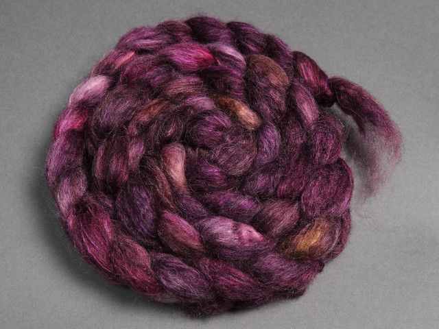 Lustre Blend fine British wool, merino, silk combed top/roving hand-dyed spinning fibre 120g 'Dancing in the Dark' (purple)