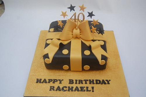 Groovy Black And Gold Present Cake Beautiful Birthday Cakes Funny Birthday Cards Online Alyptdamsfinfo
