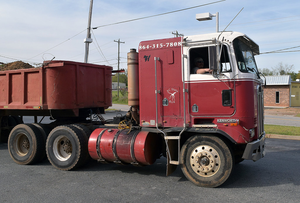 1991 Kenworth Cabover Pulling An Old Semi Dump
