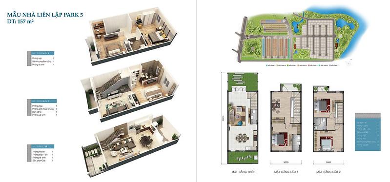 Mẫu nhà liên kế Park Riverside 5, 157 m2, 5x15 m