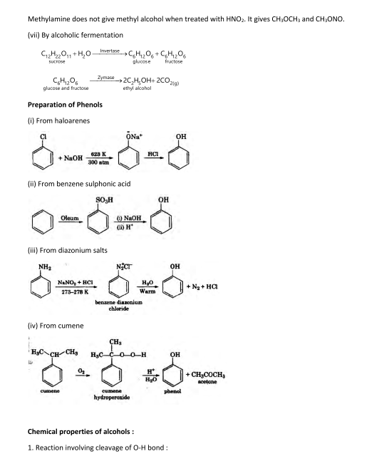 Important Notes of Chemistry for NEET, JEE: Alcohols, Phenols and Ethers