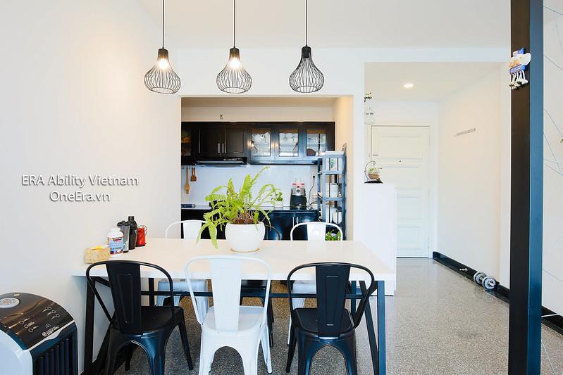 Bàn ăn và bếp căn hộ Hoàng Anh Gia Lai