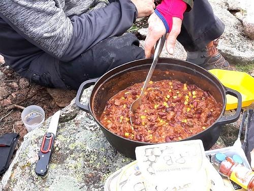 Le Chili con carne du spuntinu dans la montée de Ranuchjaghja