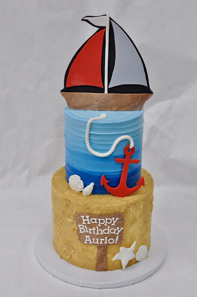 Nautical Birthday Cake 5 And 7 Cake For A Birthday With F Flickr