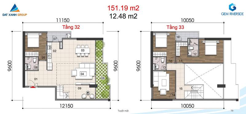 Gem Riverside thiết kế mẫu Duplex Villa - Penthouse 15