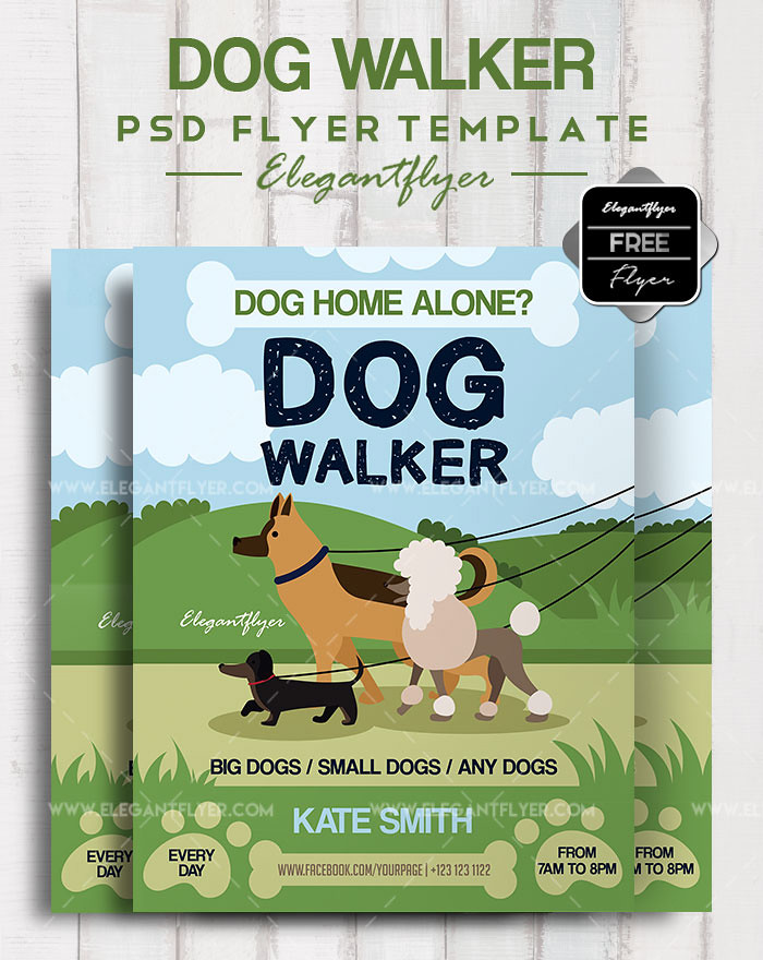 Dog Walker Free Flyer Psd Template Facebook Cover Flickr