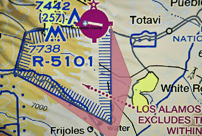Map of FAA restricted airspace  of Los Alamoos