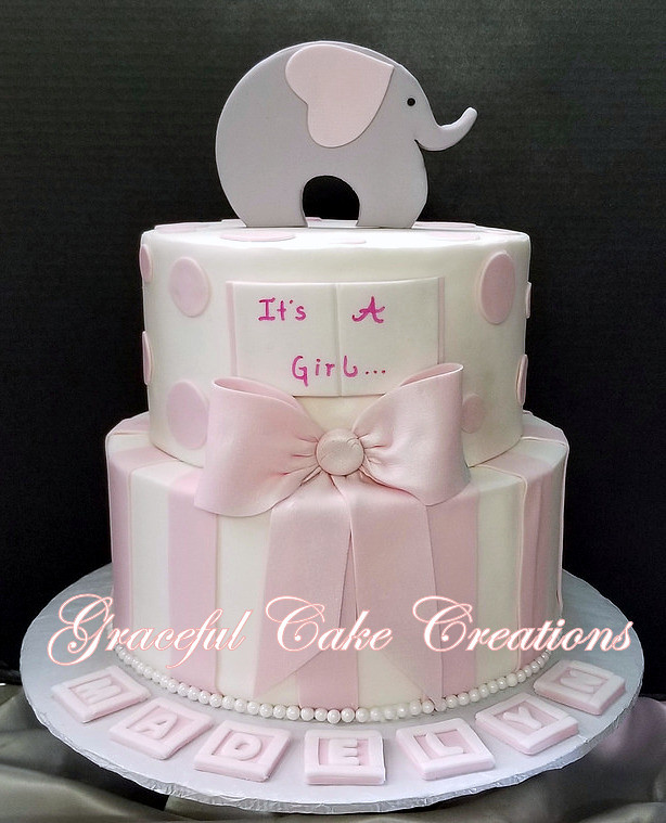 Pink And White Baby Shower Cake With An Elepant Topper Pi Flickr