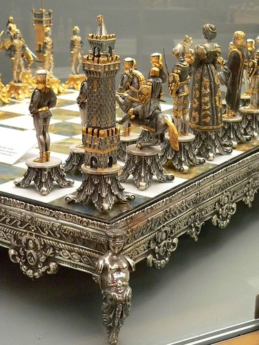 This Silvered And Gilded Bronze Vasari Figural Chess Set R