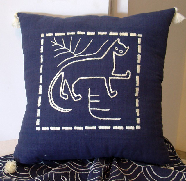 cat pillow Embroidered pillow, based on traditional Thai l? Flickr
