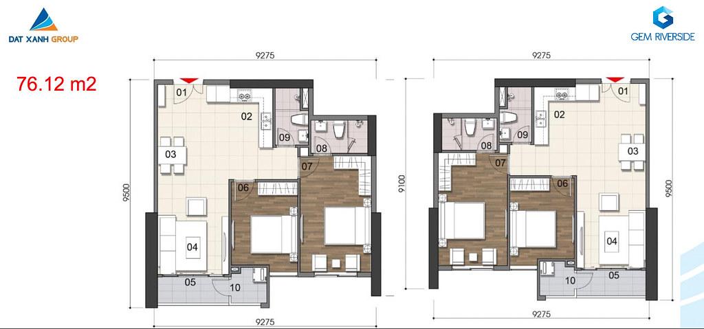 Thiết kế Mặt bằng tầng - căn hộ điển hình Gem Riverside 15