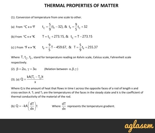 Important Notes of Physics for NEET, JEE: Thermal properties of Matter