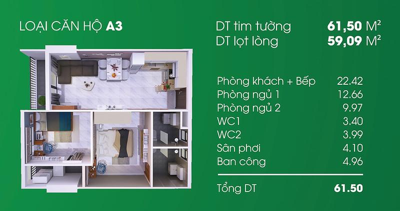 Căn hộ A3: 2 phòng ngủ, 2 WC diện tích: 59,09 m2 Thủ Thiêm Garden quận 9