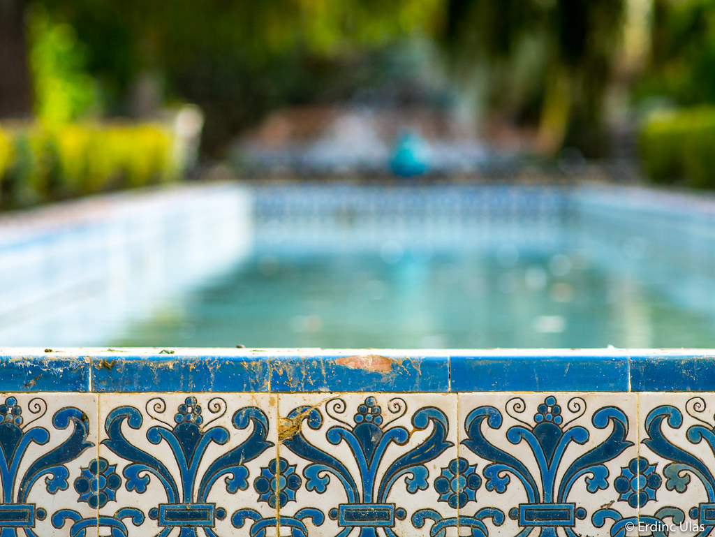 with mosaic blue photo tile pool lined outdoor of tiles water dec decorative pattern metal white decor handrails