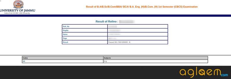 Jammu University Result 2018: JU Announces Result of B.A/B.Sc/B.Com/BBA/ BCA/ B.A. Eng. (H)/B.Com. (H) 1st Semester (CBCS) Examination