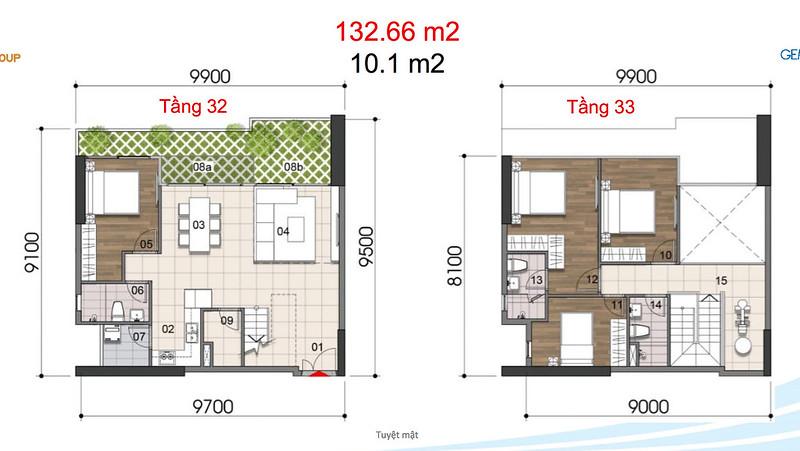 Gem Riverside thiết kế mẫu Duplex Villa - Penthouse 12