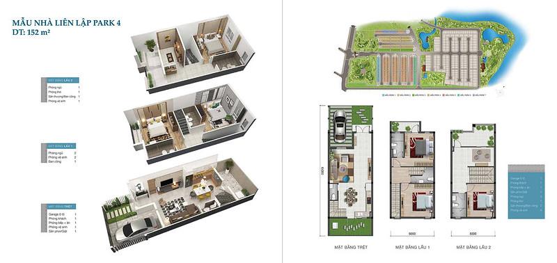 Mẫu nhà liên kế Park Riverside 4, 152 m2