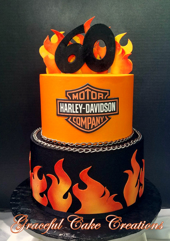 Harley Davidson 60th Birthday Cake With Flames And Logo Flickr