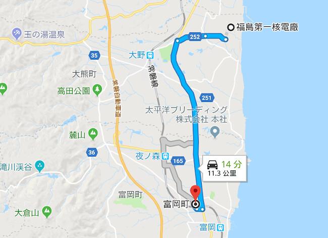 M所在的富岡町,位於福島第一核電廠南方。(來源:GOOGLE MAP)