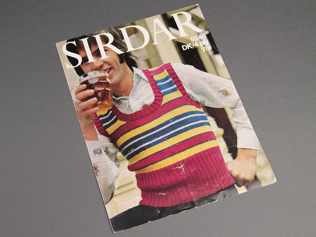 Sirdar 5340 Mens Striped Retro Tank Top 70s Vintage Knitting Pattern Leaflet