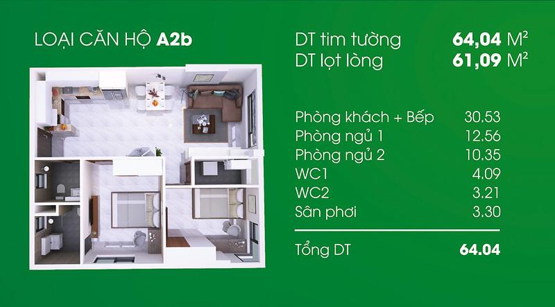 Căn hộ A2b: 2 phòng ngủ, 2 WC, diện tích: 61,09 m2 Thủ Thiêm Garden quận 9