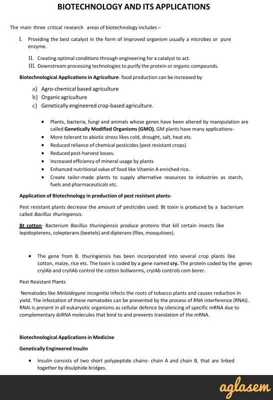 Important Notes of Biology for NEET: Biotechnology and Its Applications