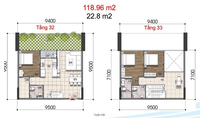 Gem Riverside thiết kế mẫu Duplex Villa - Penthouse 10