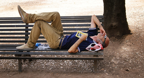 Hypnotized by the heatwave in Roma he fell asleep on a park bench | by B℮n