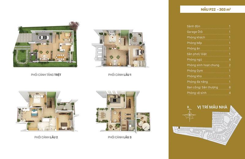 Mẫu thiết kế P22 biệt thự đơn lập Villa Park