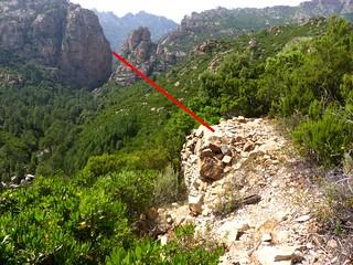 Le trajet du téléphérique entre la brèche du Carciara et le piton rocheux du Peralzone