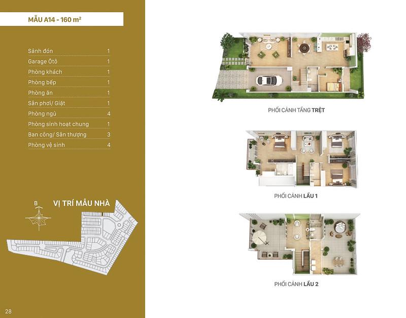 Mẫu thiết kế A14 biệt thự Liên kế Villa Park