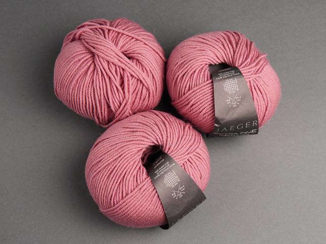 Destash yarn: Jaeger Extra Fine Merino DK 3 x 50g – 966 'Rose'
