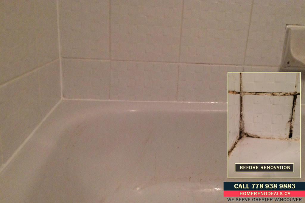 Re-grouted tiles and new caulking around the bathtub. Home… | Flickr