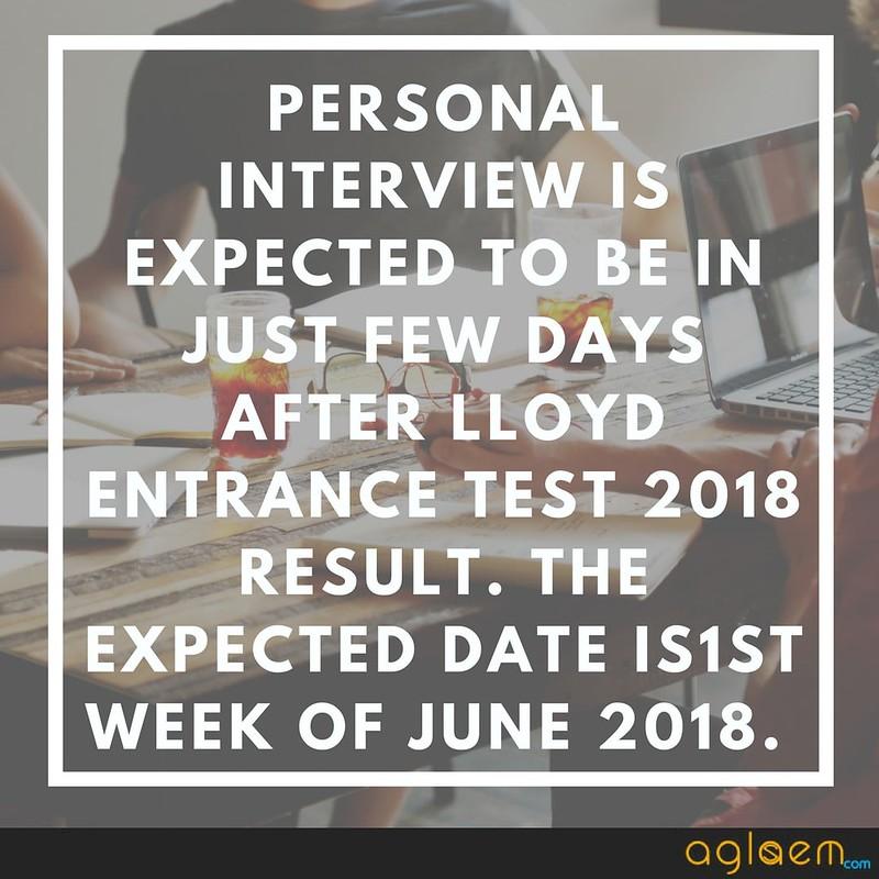 Lloyd Entrance Test (LET) 2018 Result
