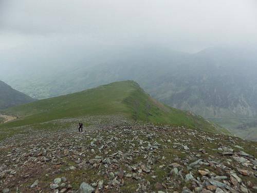 Ascending the ridge to Garnedd Ugain