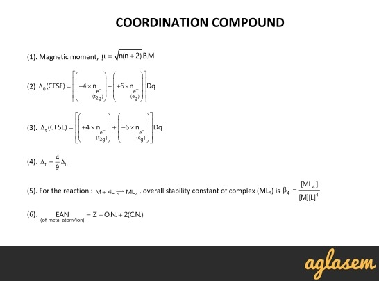 Important Notes of Chemistry for NEET, JEE: Coordination Compound