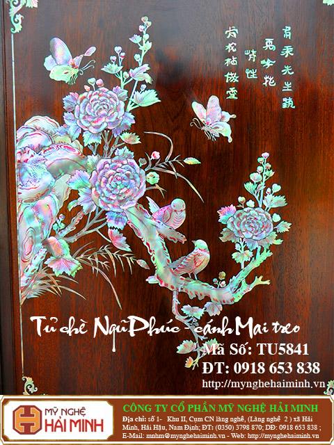 TU5841f Tu che be Ngu phuc canh Mai treo do go my nghe hai minh