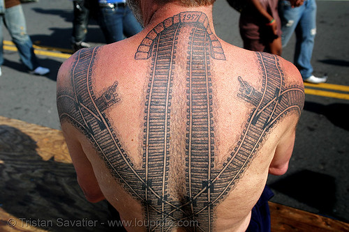 DSC08045 - Railroad tattoo - Backpiece - Neck tunnel | by loupiote (Old Skool) pro