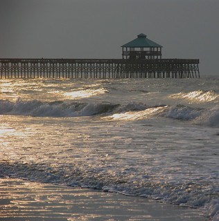 Folly Pier in the surf | by byrdiegyrl