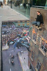"Example Of 3D Sidewalk Art: Batman & Robin Rescue The Artist From a ""Tall Building""! 