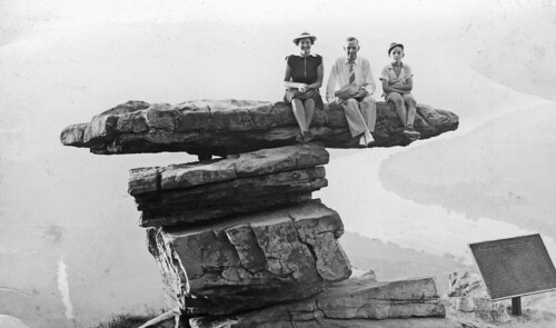 "Nanny, Pop, and Dad on ""Umbrella Rock,"" Lookout Mountain, TN, about 1938 