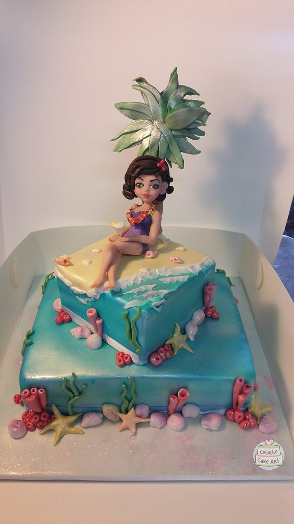 Beach Cake With Handmade Clay Cake Topper By Creative Cake Flickr