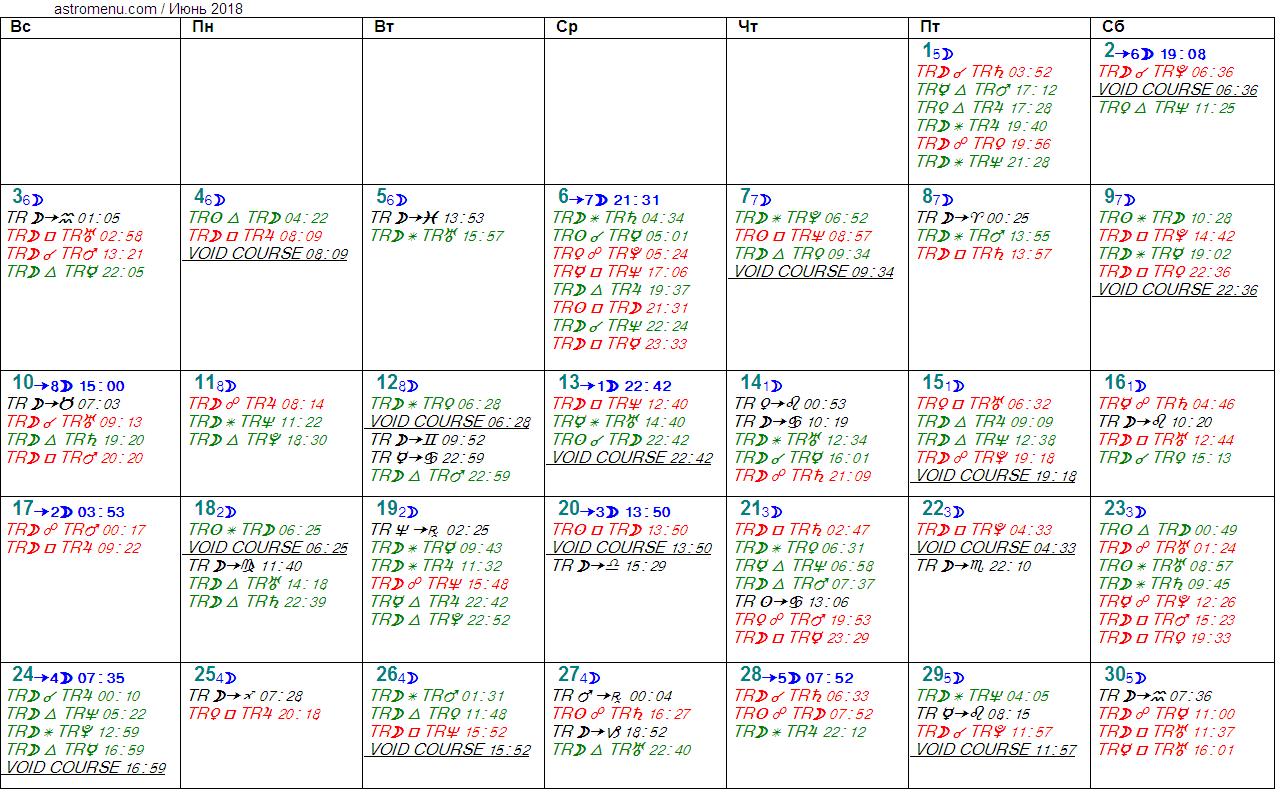 Астрологический календарь на ИЮНЬ 2018. Аспекты планет, ингрессии в знаки, фазы Луны и Луна без курса