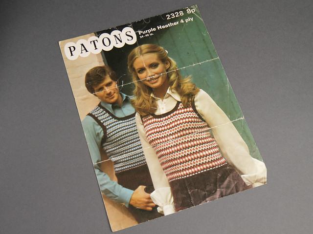 Patons 2328 Unisex Fair Isle Retro Tank Top 70s Vintage Knitting Pattern Leaflet