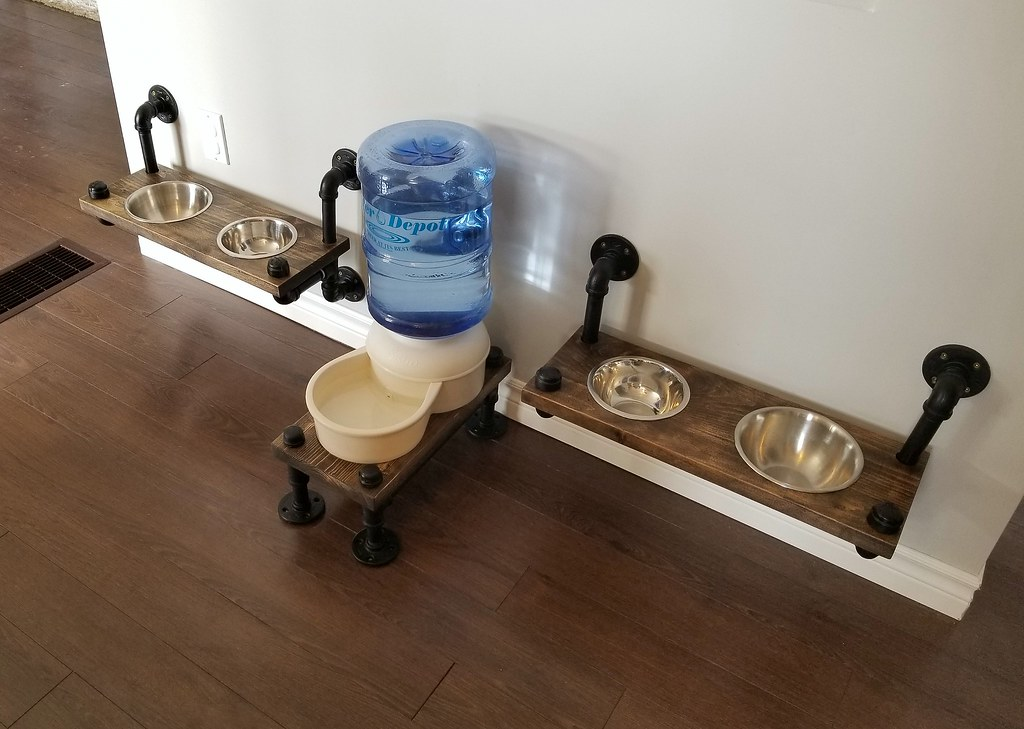 Industrial style dog feeding station - plumbing pipe  dog bowl